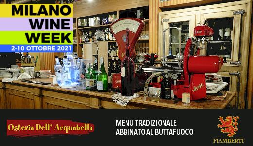 MWW 2021: menu tradizionale abbinato al Buttafuoco Il Cacciatore 2019 all'Osteria dell'Acquabella